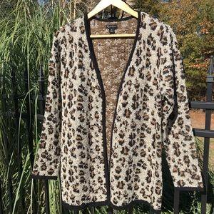 Leopard Cardigan Sweater Size Medium